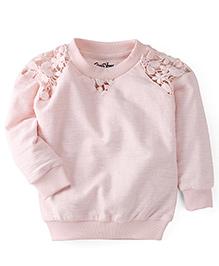 Gini & Jony Full Sleeves Sweatshirt Floral Detail - Light Pink