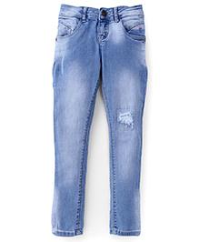 Palm Tree Full Length Denim Jeans - Light Blue