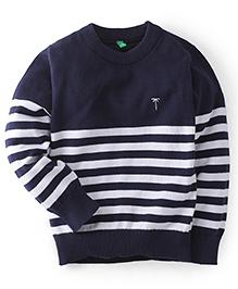 Gini & Jony Full Sleeves Striped Sweater - Navy Blue