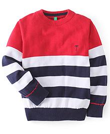 Gini & Jony Pullover Stripe Sweater - Red & Navy