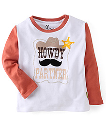 Gini & Jony Full Sleeves T-Shirt Howdy Print - White & Light Orange