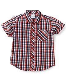 Babyhug Half Sleeves Shirt Checks Print - Orange