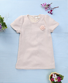 In.f Kids Top With Flower Applique - Cream