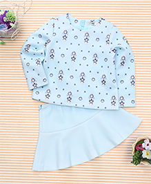 In.f Kids Printed Skirt & Top Set - Aqua Blue