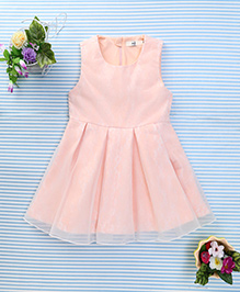 In.f Kids Flower Print Dress With Net - Peach