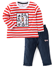 ToffyHouse Full Sleeves Striped T-Shirt And Pants - Scarlet Navy Blue