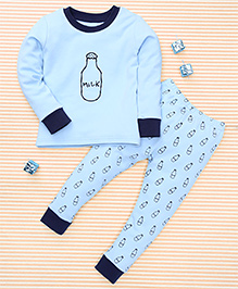 El Hogares Milk Bottle Print Tee & Pant Set - Blue