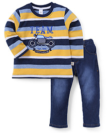 ToffyHouse Full Sleeves Striped T-Shirt And Pants - Blue Yellow