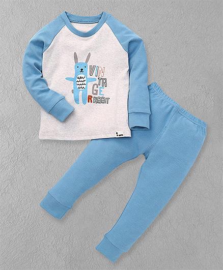 El Hogares Rabbit Print T-Shirt & Pant - Blue