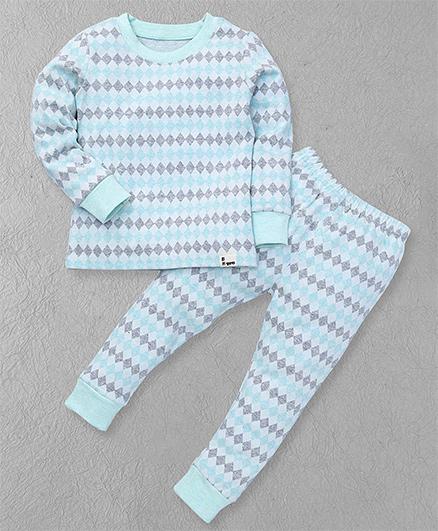 El Hogares Chex Print T-Shirt & Pant - Blue