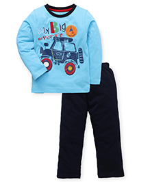 Babyhug Full Sleeves T-Shirt And Pant Set Car Print - Aqua Blue & Navy