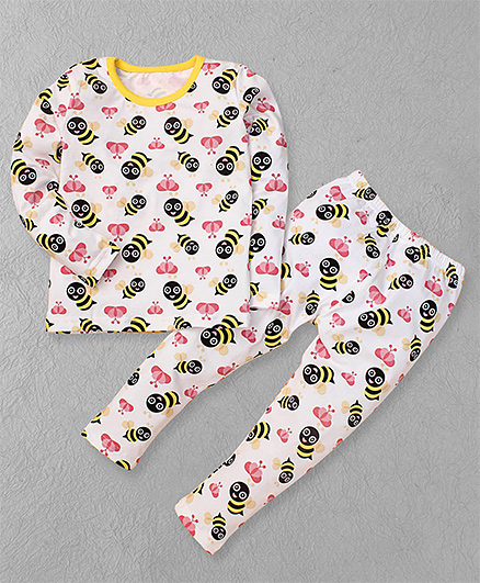 El Hogares Honey Bee Print Tee & Pant Set - White
