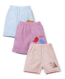 Ohms Shorts Pack of 3 Multiprint - Peach Aqua Pink