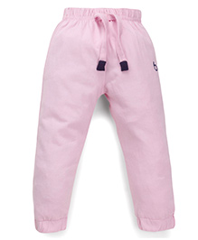 Babyhug Full Length Track Pants With Drawstring - Light Pink