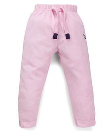 Babyhug Full Length Track Pants With Drawstring - Light Pink