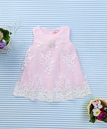 Sunny Baby Net Embroidered Dress - Baby Pink