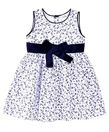 Babyhug Sleeveless Frock Flower Print - Blue