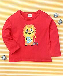 Parent Sweet Bitz Print Full Sleeves T-Shirt - Crimson Red