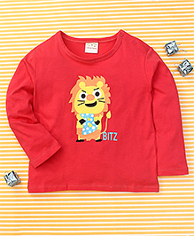 Parent Sweet Bitz Print Full Sleeves T-Shirt - Crimson Red