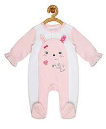 Sucre d'orge Full Sleeves Footed Sleepsuit Bunny Design - White Pink