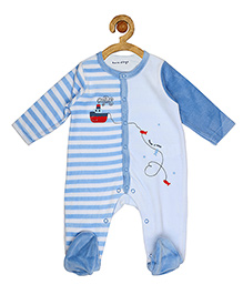 Sucre d'orge Full Sleeves Footed Sleepsuit Ship Print - Blue