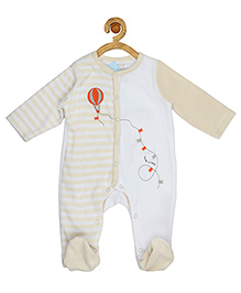 Sucre d'orge Full Sleeves Footed Sleepsuit Air Balloon Print - Off White