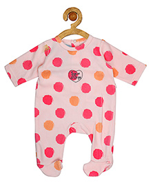 Sucre d'orge Full Sleeves Footed Sleepsuit Polka Dots Print - Pink