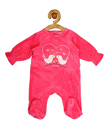 Sucre d'orge Full Sleeves Footed Sleepsuit Birds Print - Pink