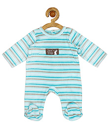 Sucre d'orge Full Sleeves Footed Sleepsuit Stripes Print - Blue