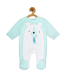 Sucre d'orge Full Sleeves Footed Sleepsuit Teddy Design - Blue