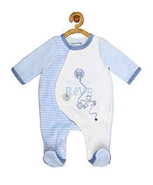 Sucre d'orge Full Sleeves Footed Sleepsuit Mini Cat Print - Blue