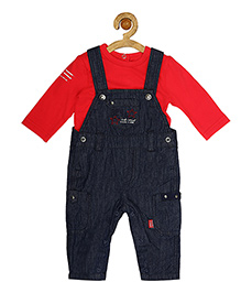 Sucre d'orge Dungaree Style Romper With T-Shirt - Red Blue