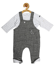 Sucre d'orge Dungaree Style Romper With Stripe Top - Grey White