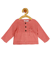 Sucre d'orge Full Sleeves Cardigan Flower Design - Pink
