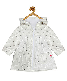 Sucre d'orge Party Wear Full Sleeves Hooded Jacket Heart Print - White