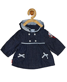 Sucre d'orge Full Sleeves Hooded Frock Bow Appliques - Blue