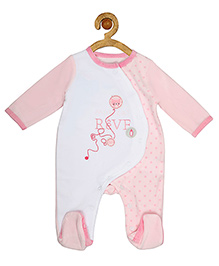 Sucre d'orge Full Sleeves Sleepsuit Cat Design - Pink White