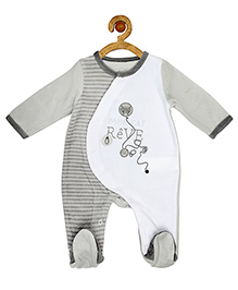 Sucre d'orge Full Sleeves Sleepsuit Cat Patch - Grey White