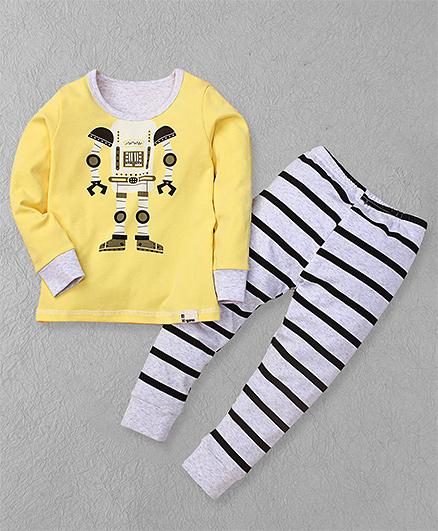 El Hogares Robot & Stripe Print - Yellow & White