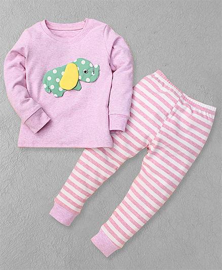 El Hogares Elephant Print Tee & Pant Set - Pink