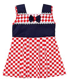 Enfance Frock With A Cute Bow - Red & Blue