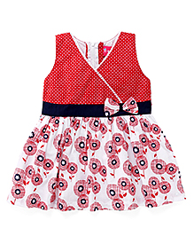 Enfance Cute Floral & Polka Dot Dress With A Bow - Red & White