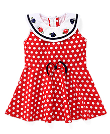 Enfance Stylish Neck With A Cute Polka Printed Dress - Red & White