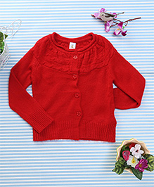 Bee Born Full Sleeves Cardigan Sweater - Red