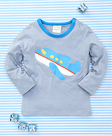 Parent Sweet Airplane Print Full Sleeves T-Shirt - Greyish Blue