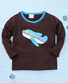 Parent Sweet Airplane Print Full Sleeves T-Shirt - Coffee Brown
