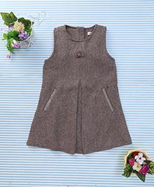 Amigo 7 Seven Bow Applique Classy Dress - Brown