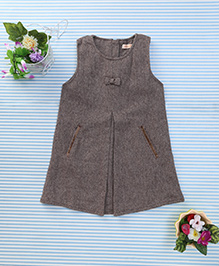 Amigo 7 Seven Bow Applique Classy Dress - Coffee