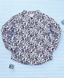 Bee Born Floral Print Shirt - White & Blue