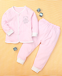 Gigilily Bear Print Top & Pant Set - Pink